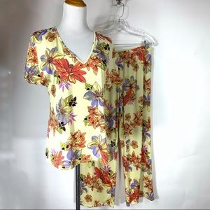 Natori Cruz Yellow Floral 2 pc Pajama Set Medium